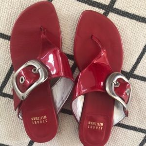 Stuart Weitzman red shiny patent sandals